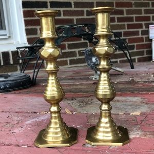 Candlestick pair; brass vintage made in India